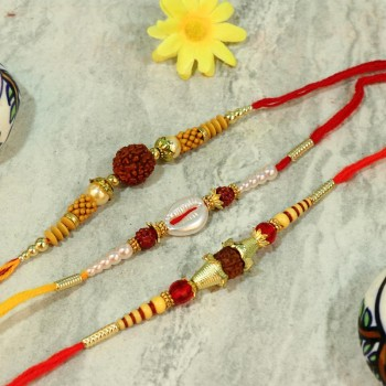 Divine Rudraksh Pearl Rakhi Set
