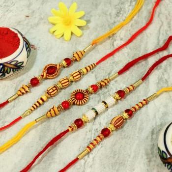 Set Of 5 Beautiful Designer Rakhi