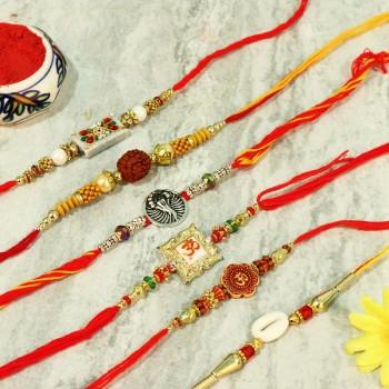 A Mixture Of 5 Designer Rakhi