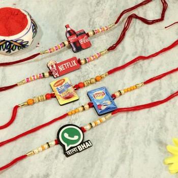 Auspicious set of 5 Designer Rakhi