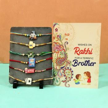 Designer Rakhi sets with Greeting cards
