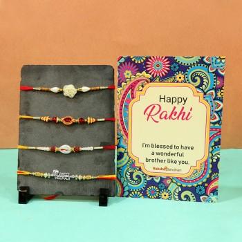 Set of 4 designer rakhi with cards combo