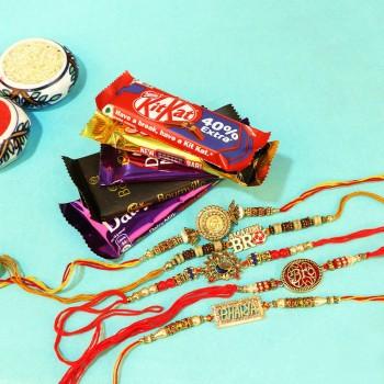 Shining Rakhi Sets with Choco Combos