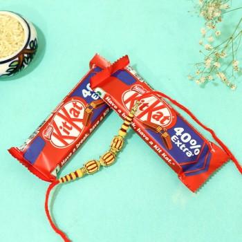 Kit Kat with Beaded Rakhi Combo