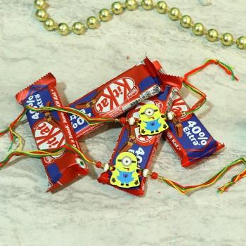 Cute Minion Rakhi Kitkat Combo