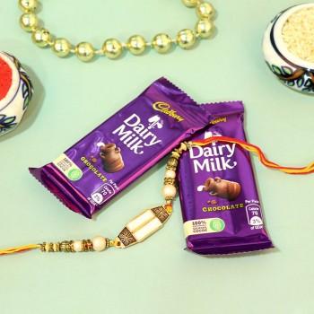 Pearl Rakhi with Chocolates