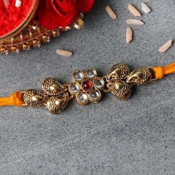 Floral Designer Kundan Rakhi