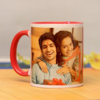 One Personalised Red Handle Mug For Brother for Rakhi