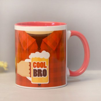 One Personalised Cool Bro Red Handle Mug For Brother