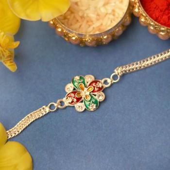 Floral Designer Silver Rakhi