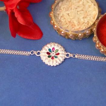 Bracelet Style Silver Rakhi