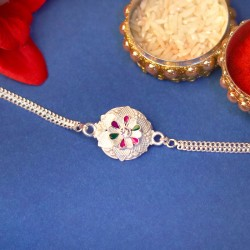 Flower Patterned Silver Rakhi