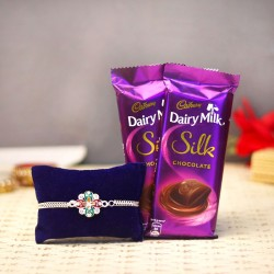 Silvery Chocolaty Rakhi Treat