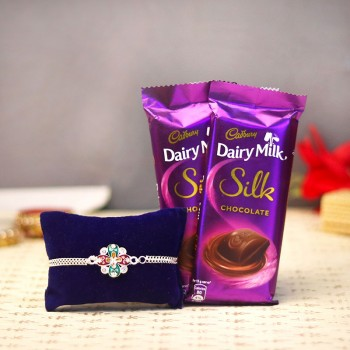 Silvery Chocolaty Rakhi Treat