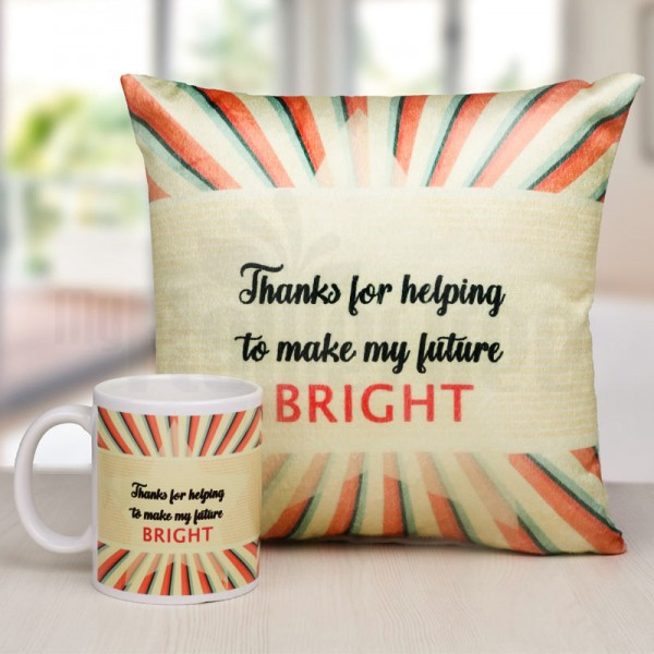 Printed Quote Cushion and Coffee Mug Combo