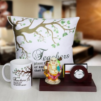 Ganesha with Table Pen Stand and Watch along with Cushion and Mug for Teacher