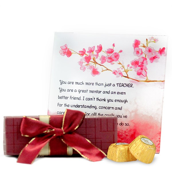 Glass Quotation n Chocolates Hamper